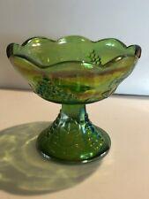 Vintage Iridescent Green Indiana Carnival Glass Harvest Grape Candle Holder
