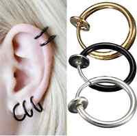 2pcs Unisex Punk Fake Nose Lips Ring Spring Clip Hoop Earring piercing Septum