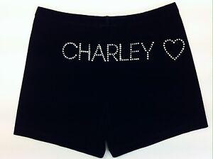 Gazelle Girls Personalised Gymnastics/Dance Shorts with Heart. Black Velvet