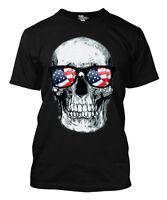 American Flag Sunglasses Skull - USA Men's T-shirt