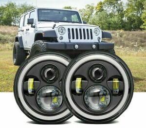 "7"" LED Headlight Halo Angel Eye DRL Light Fit For Jeep Wrangler JK LJ TJ CJ-5"