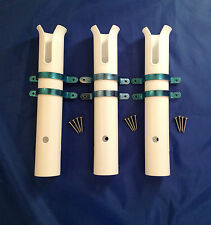 FISHING ROD HOLDERS X 3 SIDE MOUNTED WITH S/S CLIPS & SCREWS