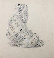 """Aquarellierte Zeichnung sitzender Araber """"Beduine"""" anonymer Orientalist, 19. Jh"""