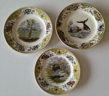 lot de 3 assiettes en porcelaine Polychrome Creil décor animaux