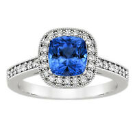 1.65 Ct Natural Diamond Blue Sapphire Engagement Ring White Gold Finish Size N K