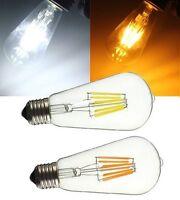 E27 E26 ST58 8W COB Retro Edison Lamp Non-Dimmable LED Filament Bulb 110V Long