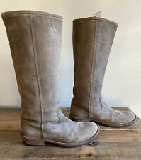 Fiorentini Baker Distressed Brown Taupe Suede Leather Tall Boot Italy Size 39