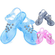 Baby Kids Clear Crystal Detailed Jelly Sandals T-strap Flat Thong Shoes BOY GIRL