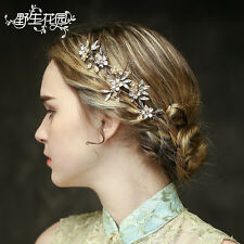 Retro wedding Bride headdres crystal rhinestone bridal hair band beaded headband