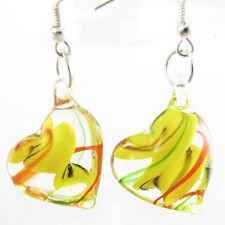 Yellow Lampwork Art Glass Heart-shaped Earrings no necklace