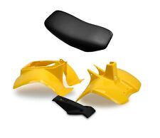 Plastics Set & Seat For Suzuki LT50 Yellow Front, Rear Fender, Black Nose Cone