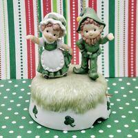 Lefton Irish Music Box~Player~Irish Girl & Boy Figurine~St Patrick's Day Decor