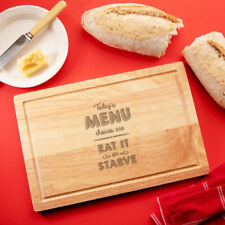 """Today's Menu Is Eat It Or Starve"" Wooden Chopping Board - Funny Cooking Gift"