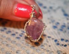 AMETHYST CRYSTAL CLUSTER POINT Sterling Silver Wire Wrapped Pendant