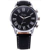 dalas Casual Silver case Men Analog Wrist Quartz Watch Black Belt B8Q1