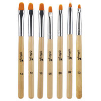 7PCS Nail Art UV Gel Painting Drawing Brush Acrylic Flat Brush Set -Professional