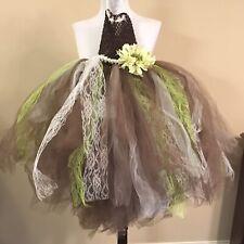 Childrens Photography Dress Princess TuTu Sleeveless Brown/Green/Beige- Handmade