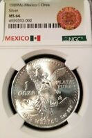 1989 MEXICO SILVER LIBERTAD 1 ONZA NGC MS 66 HIGH GRADE GREAT LUSTER BEAUTY !!!
