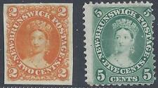CANADA 1860 NEW BRUNSWICK 2¢ VICTORIA IMPERF PROOF Sc 7 & Sc 8 PERF MINT HINGED