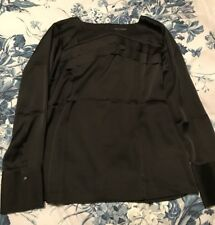 BANANA REPUBLIC BNWT BLACK SATIN STYLE ROUND NECK BLOUSE TOP SIZE MEDIUM