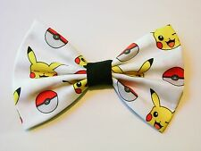 NEW FABRIC HAIR BOW W/ALLIGATOR CLIP * Pikachu - Pokemon * FREE SHIPPING