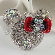 1Pc 34x42mm Crystal Mouse Head Charm Pendant For Bubblegum Chunky Necklace