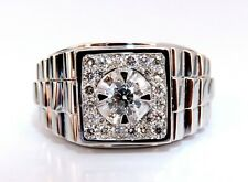 """.63ct Natural Diamonds Mens Solitaire Accent Ring 14 Karat """"Watch Band"""""""