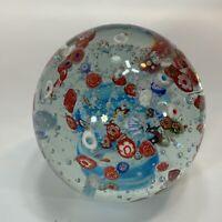 SPI Home Handblown Art Glass Confetti Sphere Globe Paperweight Red Blue Ball