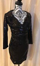 BLVD SZ Medium Dress V Neck Black Sequin Cocktail Party Fitted Womans