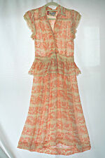 Antique vtg 30s or early 40s rayon dress novelty print, excellent, S