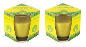 2 Outdoor Garden Citronella Glass Jar Candles Insects Mosquitos Repellent