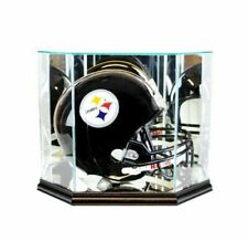 Octagon Full Size Football Helmet Glass Display Case w/ Black Base