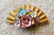 Vintage Fan Enamel Flower Brooch Gold Toned