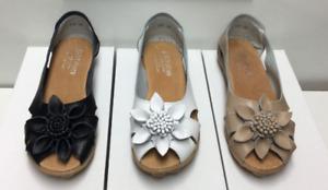 Shoe womens leather  slip on ballet flat sandal designer auyi nodule black white