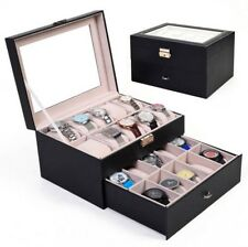 Watch Holder 20 Slot Leather Box Display Case Organizer Glass Jewelry Storage