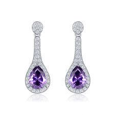 HUCHE Waterdrop Design Pear Purple Diamond Amethyst SIlver Lady Dangle Earrings