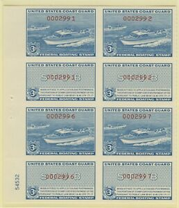 RVB2, Boating Stamps Plate Block of 8 - $3.00 blue, red number Mint Never Hinged