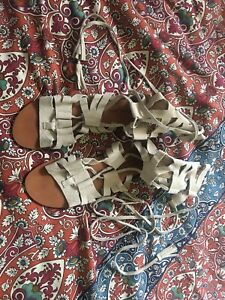 NEW FREE PEOPLE Sz41  GLADIATOR LEATHER LACE-UP SANDAL