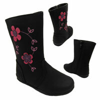 Girls Boots Pollyanna Kelly Flower detail Black Boot Flat sole Size 8-13 New