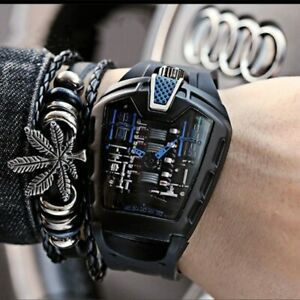 Sports Car Concept Mechanical Style Six-Cylinder Engine Compartment Men's Watch