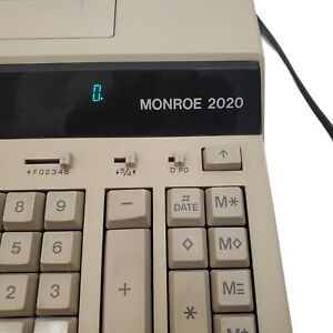 MONROE 2020 PRINTING CALCULATOR ADDING MACHINE-Works great