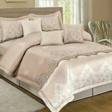 Shatex Queen Size Comforter Sets 3 Pieces Bedding Set Soft Comforter Champagne