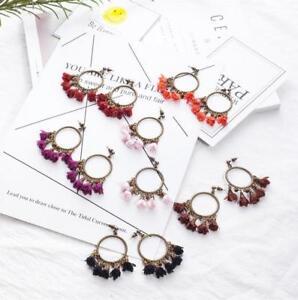 DIY Fashion Flower pendant Circle earrings for Women Vacation Earrings Jewelry