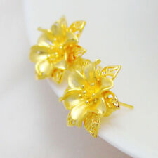 New Vintage Stud Flower Earrings Women Solid Real 24K Yellow Gold Filled Gift