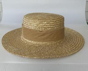 WYETH Straw Hat Sam Boater Hat with Velvet Band Natural Tan