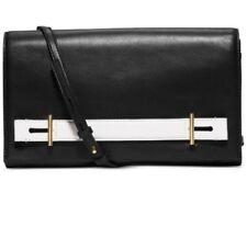 Michael Kors NWT $268 Chelsey Clutch Black White Leather Convert Shoulder-Bag