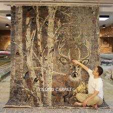 YILONG 8'x10' HandKnotted Wool Carpet Contemporary KID Friendly Deer Rug P117