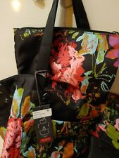 Tumi Voyageur Just in Case Tote Foldable SHOPPER W ZIPPER Pouch Collage Floral