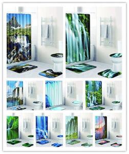 4X Waterfall Scenery Bathroom Shower Curtain Floor Mat Bath Rug Toilet Lid Cover