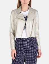 NWT Armani Exchange A|X Faux leather Zipper Metallic Crop Jacket Gold S 4